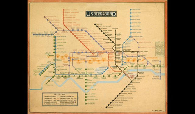 Henry Beck's original drawing for the 'diagrammatic' tube map (1931)