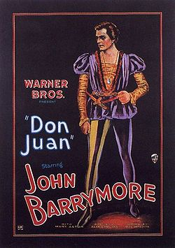 Poster for Warner Bros.' Don Juan (1926), the first major motion picture to premiere with a full-length synchronized soundtrack