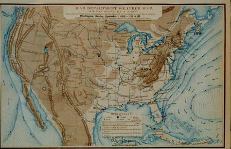 U.S. War Department, U.S. Army Signal Service Weather Map, September 1, 1872 (Courtesy of NOAA Photo Library)