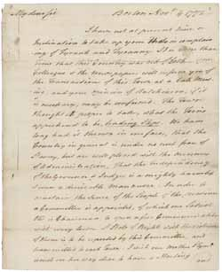 Letter from Samuel Adams to James Warren, 4 November 1772 in which he informs Warren of the establishment of the Committee of Communication and Correspondence in Boston (Mass Hist. Soc.)