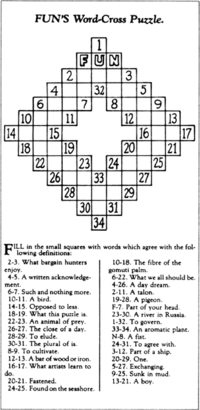 The First Crossword Puzzle